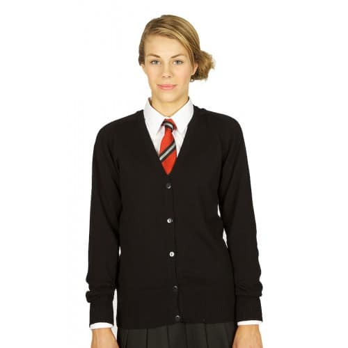 Girls Cotton Fitted V-Neck Knitted Cardigan Black
