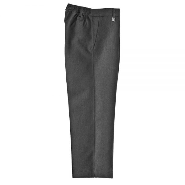 Standard Fit Grey Zip Up Flat Front Trouser by Zeco